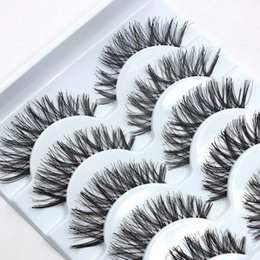 Wholesale Wholesale Fake Accessories - False Eye Lash Natural Long Curling Thick Fake Eyelashes Women Makeup Tools Accessories 5 Pairs Fashion eye lashes for Woman Lady