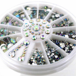 Wholesale Wheel Nail Art - Wholesale-2016 New 5 Sizes AB 3D Nail Art Rhinestones Crystal Glitter Nails Wheel Decorations For DIY Studs Free Shipping