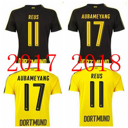 Wholesale Borussia Dortmund Jersey Reus - .2017 18 Borussia Dortmund home Whosales 17 18 top quality PULISIC soccer jerseys free shipping Aubameyang REUS football shirts