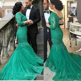 Wholesale Emerald Train Dress - Elegant Emerald Green Long Sleeves Lace Dubai Evening Dress Fashion Mermaid Tulle Women Wear Special Occasion Dress Party Gown Plus Size