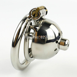 Wholesale Urethral Ring Steel - NEW Super Small Male Chastity Cage With Removable Urethral Sounds Spiked Ring Stainless Steel Chastity Device For Men