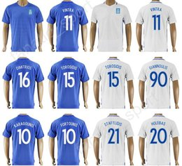 Wholesale Custom Soccer Jerseys Uniforms - 17 18 Soccer Greece Jersey 2017 Thailand Custom 11 Kostas Mitroglou 15 Vasilis Torosidis Football Shirt Uniform 10 FORTOUNIS 10 KARAGOUNIS