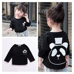 Wholesale Boy T Shirt Retro - 2017 Autumn Cute Gentleman Panda Retro Long-sleeved T-shirt Classic Black Cotton Casual Boys Girls Tops Baby Children Kids Clothing 143