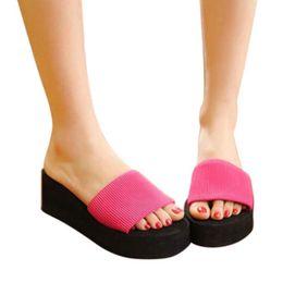 Wholesale Wholesale High Heel Slippers - Wholesale-Brand new Summer Women Sandals solid Sandal Trifle Platform Flip Flops Home Slippers Shoes Women High heel slippers