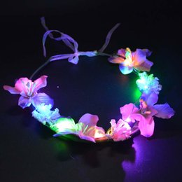 Wholesale Valentines Day Party Supplies - 2017 Girls Women Boho Flashing Foam Flower headband garland Wreath Wedding Decoration Glow Party Supplies Valentines Day