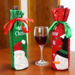 2019 glitterband großhandel rot Rotweinflasche Taschen Weihnachtsschmuck Geschenk Party Bestes Geschenk für Xmas Bar Red Wine Bottle Cover Bags