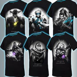 Wholesale Printed Glow - 2016 Mens 3D Glow In The Dark Luminous T Shirt League of legends Men Printed Short Sleeve 2016 Summer Men Clothes 13Styles