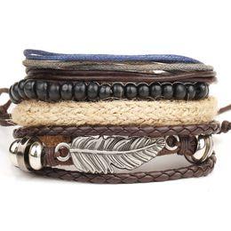 Wholesale Punk Chain Accessory - New! 1pcs 1 Set Punk Genuine Wrap Leather Bracelets Men For Women Charm Anchor Bracelets Cuff Jewelry Accessories