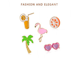 Wholesale Cool Brooches - 2017 hot sale new fashion jewelry drop oil brooch summer cool series fruit orange juice coconut orange glasses cartoon brooch decoration