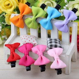 Wholesale Cheap Gift Bows - Cheap Small Bowknot Hairgrips Mini Baby Girls Children kids Solid Dot Ribbow Bow Safety Hair Clips Kids Hairpins