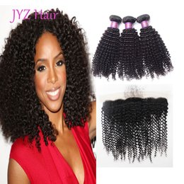 Canada Mongolian Human Hair Kinky Curly 3 Bundles With 13x4 Lace Frontal Unprocessed Human Hair Wefts With Closure Virgin Hair Weave Bundles Offre