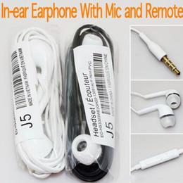 Wholesale Cheap Earphones Volume Control - Cheap 3.5mm In Ear Earphone J5 Music Headset with MIC & Volume Control Headphone for Samsung Galaxy S4 S5 S3 S6 No retail packaging