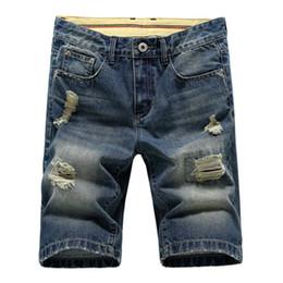 Wholesale Hot Jeans Men S Shorts - Wholesale-Hot sale Free shiping New arrival men's casual shorts ripped slim straight short jeans cotton shorts men's shorts 38CQ