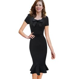Wholesale Sexy Business Casual Dresses - Women 2017 Vintage Dresses Elegant Sexy Retro Pinup Tunic Wear to Work Office Business Casual Party Pencil Sheath Bodycon Dress