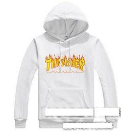 Wholesale Flame Logo - KThrasher flame skateboard popular logo on the west coast of harajuku hooded fleece hot