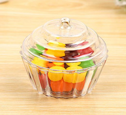 Wholesale Christmas Cupcake Gift Boxes - Clear Mini Cake Stand Cupcake Favor Candy Box Wedding Birthday Container Plastic Party Treat Food Boxes Favours Christmas Gift Wrap