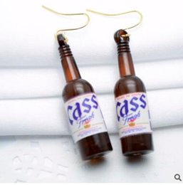 Wholesale Beer Bottle Charms - Personality glass beer bottles earrings fashion in Europe and the nightclub perfume bottles stud earrings three colors