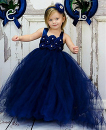 Wholesale Old Gold Beads - Cheap Navy Blue Ball Gown Flower Girl Dress Bead 7 Year Old Little Gowns Vintage Girls Pageant Dresses Simple