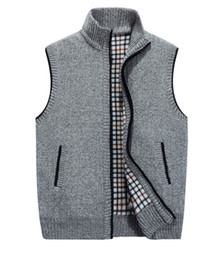 Wholesale Cardigan Sweater Vest Men - Sweater Men Warm Knitwear Thick Cashmere Sleeveless Ugly Christmas Sweaters Vest Cardigan Male Casual Coat SY154