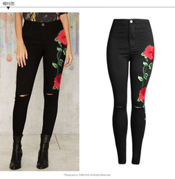 Wholesale Women Sexy High Waist Jeans - New Women's High Waist Black Embroidery Flowers Jeans Sexy Ripped Pencil Stretch Denim Pants Female Slim Skinny Trousers