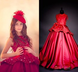 Wholesale Corset Girls - Red Satin Ball Gown Girls Pageant Dresses Bateau Neck Sleeveless Flowers Appliuqes Floor Length Corset Pageant Dresses For Teens