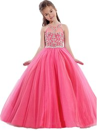 Lavanda miúdos vestido on-line-Meninas Pageant Vestidos De Criança Pequena Rosa Crianças Vestido De Baile Até O Chão Glitz Vestido Da Menina de Flor Para Casamentos Frisada Lavanda Turquesa
