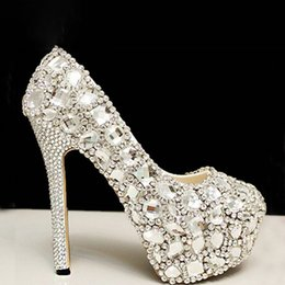 Wholesale Elegant Crystals Bridal Shoes - Elegant High Heel Shoes for Wedding Bridal with Silver Crystal Stock Fast Shipping Runway Party Cheap Platform Pumps Beautiful Accessories
