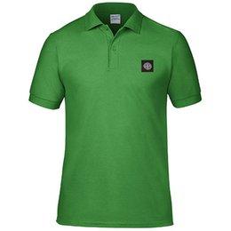 Wholesale T Shirt Buttons Men - 2018 New Hot Sale Large Size T-shirt Stoned T-shirt Men's Solid Color Lapel Polo T-shirt Size XS-XXL