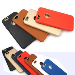 Wholesale Iphone Back Hard Logo - For iphone 7 Leather Skin Gold Chrome Hard Back Case Phone Cover Shell Logo Hole for Apple iphone6 6 6s plus 5