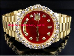 Wholesale Mens 18k Watch Diamond - Top Quality Luxury Wristwatch 18K Mens Yellow Gold 36MM Red Dial Bigger Diamond Watch 5.5CT Automatic Mechanical Men Watches