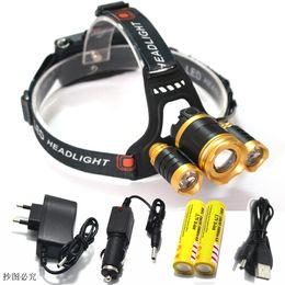 Wholesale Cree R5 Bulb - Wholesale- 3 LED Headlight 8000 Lumens CREE XML T6 + 2*R5 Zoom High Power LED Headlamp outdoor +2pcs 18650 Battery AC Car Charger+1*USB