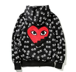 Wholesale Long Cardigan Heart - men's Hoodies OFF WHITE Autumn Brand Clothing Pla Sweatshirt Plus Size Loose Red Heart Embroidery PLA Hooded Hoodie Men Women Pullover
