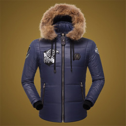 Wholesale Men Jacket Hood Cotton - New Arrival Hliantao Men Down Coat Clothing Hooded Windproof Fur Hood Warm Winter Jacket Men Eagle embroidery Casual Jacket 609