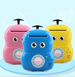 Wholesale Electronic Saver - Electronic Suitcase Money Bank Piggy Money Locker Coins Cashes Auto Insert Bills Safe Suitcase Money Saver Creative Gift For Kids KKA3075