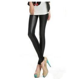 Wholesale Hot Women Tight Black Pants - Wholesale- Fashion Women Black Faux Leather High Waist Tights Boots Pants HOT! -M