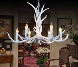 Wholesale Antler Room - European Vintage Pendant Light American Country White Resin Antler Pendant Light Dinning Room Light 6 Lights LLFA