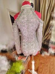 Wholesale Applique Leotards - Long Sleeve Silver Sequins Tallsel Bodysuit Women's Party Costumes Female Singer Leotard Stage Wear Prom Embroidery Dresses