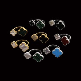 Wholesale Gold Multicolor Rings - Middle East selling copper plated gold flower jewelry copper inlay shell agate multicolor natural stone size flower opening ring