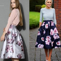 Wholesale Retro Floral - 2016 New hongcoming skirts for women Retro Floral Pleated A-line Swing Skirt Big Flower Print Elegant Ladies Clothing