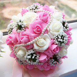 Wholesale Rustic Artificial Flowers - 2017 New Pink Rose Artificial Wedding Bouquets With Beading Pearls Hybrid Bridesmaids Flowers Cheap Fast Shipping Rustic Bridal Balls
