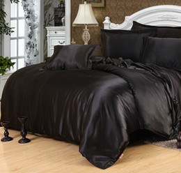 Wholesale Washed Silk Quilt - Black Silk Comforter sets Satin Bedding set sheets duvet cover bed in a bag sheet spread doona quilt King Queen size Twin 5PCS