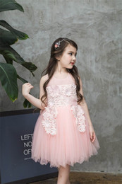 Wholesale Tulle Fluffy Flower Girl Dresses - Retail Summer New Boutique Girls Dresses lace flowers Soft Fluffy Tulle Princess Dress For Wedding Party Children Clothing E2930