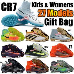 Wholesale Cheap Black Football Cleats - Cheap Kids Soccer Shoes Mercurial CR7 Superfly V FG Indoor Boys Football Boots Magista Obra 2 Women Youth Soccer Cleats Cristiano Ronaldo