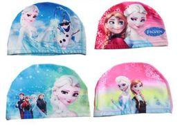 Wholesale Winter Swim Caps - Children swimming cap Frozen AnNa Isa princess snow country High speed dry cloth caps