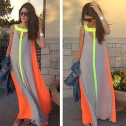Wholesale Cheap Bright Dresses - New Casual Dresses Bright Color Patchwork Sleeveless Sundress Boho Dress Loose Long Chiffon Dress Cheap Women Maxi Dresses