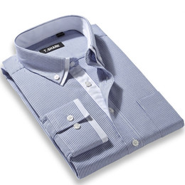 Wholesale Mens Dress Shirt Classic - Wholesale- 2016 New Arrival Men's Fashion Clothes Long-Sleeve Striped Shirt Mens Double Layer Collar Button Formal Classic Dress Male Shirt