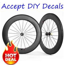 Wholesale 24 Inch Road Wheel Set - Diy Decals Accepted 700C 88mm Depth 23mm Width Carbon Wheels Black UD Matt Clincher Tubular With Powerway R36 Hubs 20 24 Spokes