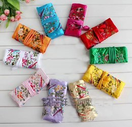 Wholesale Chinese Silk Jewelry Roll - Wholesale5pcs Chinese Vintage Embroidere Silk Jewelry Rolls Pouch Gift Bag Purse