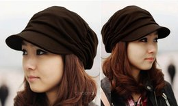 Wholesale Wholesale Spring Summer Decor - Wholesale-Men Women Berets Hat for Spring Summer Decor Unisex Badge Pleats Visor Hats Hats & Caps *35