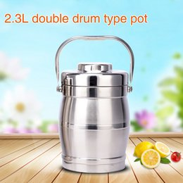 Wholesale Dish Child - Stainless steel multi-functional lunch box Double layer Insulation student Portable 2.3L High capacity child Green material Food Container